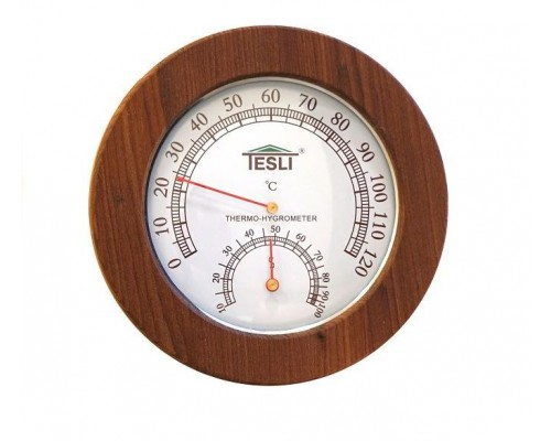 Термогигрометр для сауны и бани Tesli малый D 165 мм