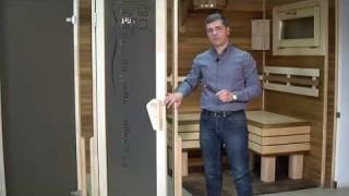 Mонтаж ручок на дерев'яну раму дверей Tesli для лазні та сауни